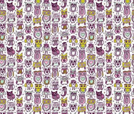 Cute vintage owl illustration kids pattern fabric for Kids pattern fabric