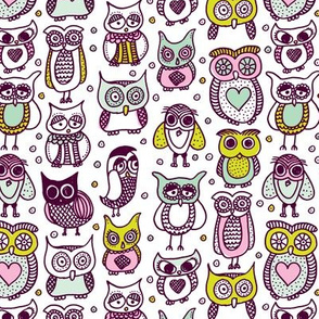 Cute vintage owl illustration kids pattern