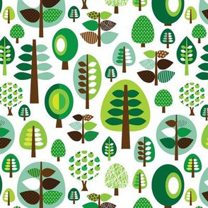 Retro green nature tree leaf and forest pattern illustration with apples