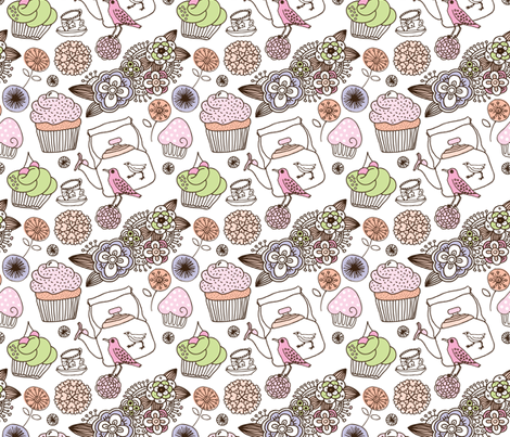 Vintage flower cupcake bird high tea pattern fabric by littlesmilemakers on Spoonflower - custom fabric