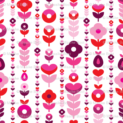 Retro red pink flower blossom pattern