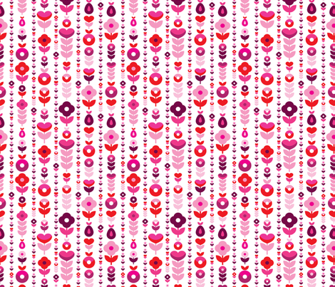Retro red pink flower blossom pattern fabric by littlesmilemakers on Spoonflower - custom fabric