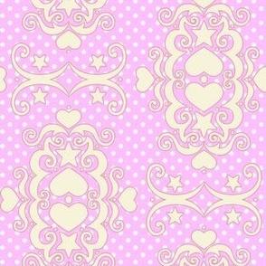 Hearts & Stars Damask - Lavender Cream