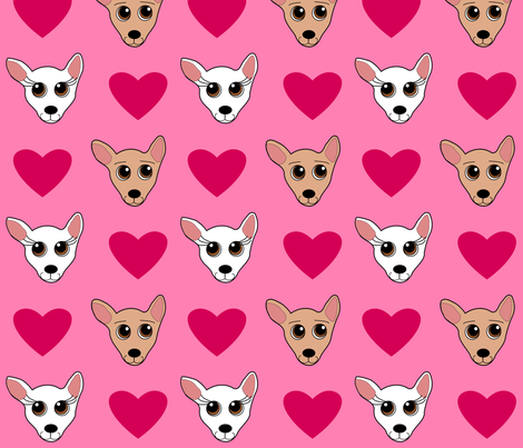 Chihuahua Love fabric by missyq on Spoonflower - custom fabric