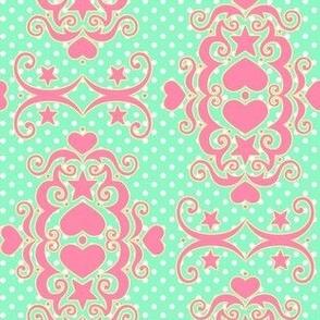 Hearts & Stars Damask - Strawberry Mint