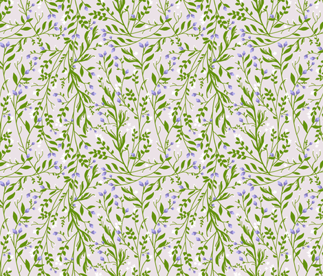 Vintage Floral Vines in Emerald Green Lavender Blossom fabric by thistleandfox on Spoonflower - custom fabric