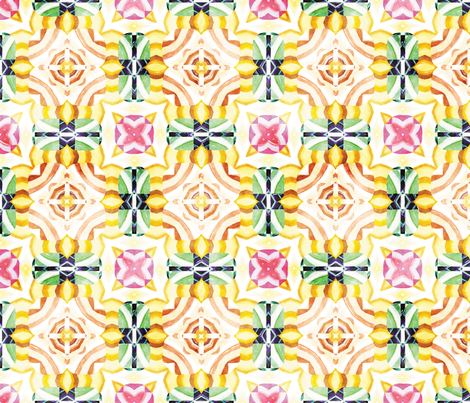 Flowery Incan Mosaics In Watercolors 3 fabric by animotaxis on Spoonflower - custom fabric