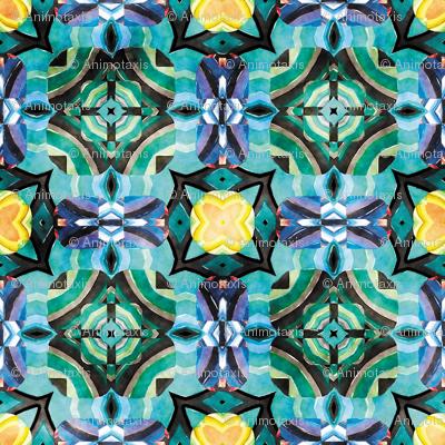 Flowery Incan Mosaics In Watercolors 4