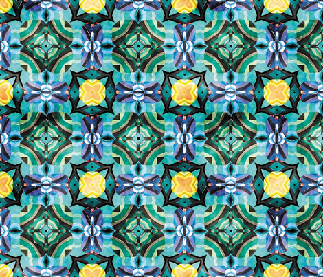 Flowery Incan Mosaics In Watercolors 4 fabric by animotaxis on Spoonflower - custom fabric
