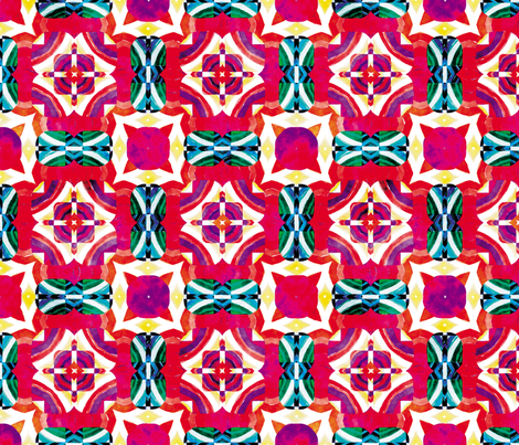 Flowery Incan Mosaics In Watercolors 5 fabric by animotaxis on Spoonflower - custom fabric