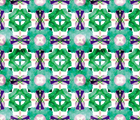 Flowery Incan Mosaics In Watercolors 8 fabric by animotaxis on Spoonflower - custom fabric