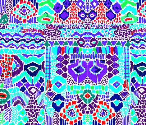 Indian summer IKAT purple fabric by katarina on Spoonflower - custom fabric