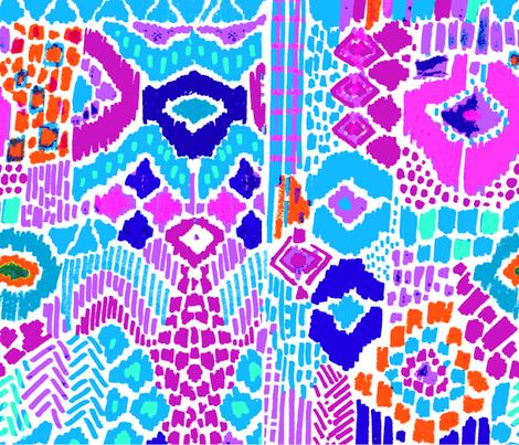 Indian summer aqua purple orange fabric by katarina on Spoonflower - custom fabric