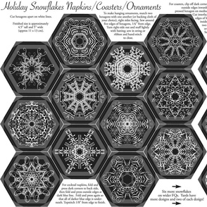 Calligraphic Snowflake napkins (or coasters, or ornaments...) on charcoal