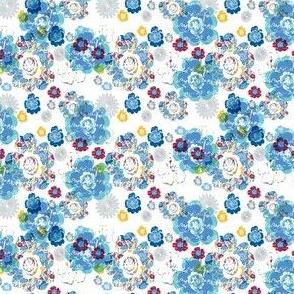 French Script Bouquet Blue