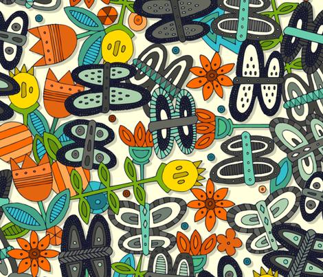 butterfly pop garden orange large fabric by scrummy on Spoonflower - custom fabric