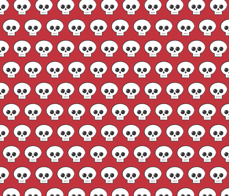 Blood Red Skully fabric by stufforama on Spoonflower - custom fabric