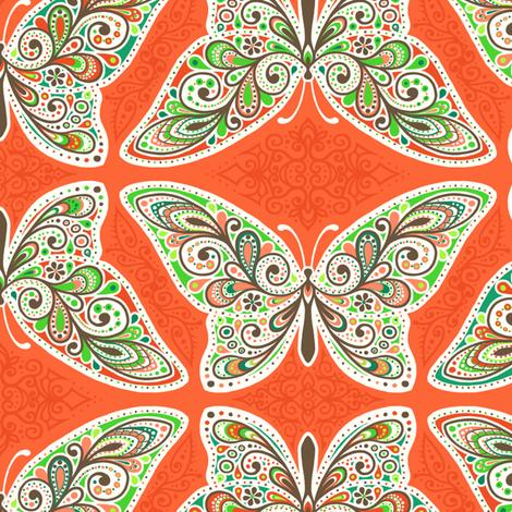 Moss Garden Butterflies fabric by siya on Spoonflower - custom fabric
