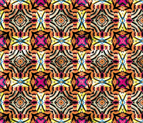 Flowery Incan Mosaics In Watercolors 10 fabric by animotaxis on Spoonflower - custom fabric