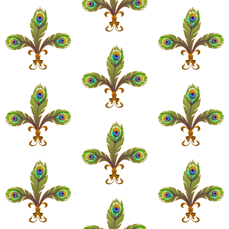 peacock fleur de lis 2 fabric by glimmericks on Spoonflower - custom fabric