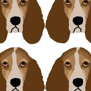 Basset Hound Head Rows on White