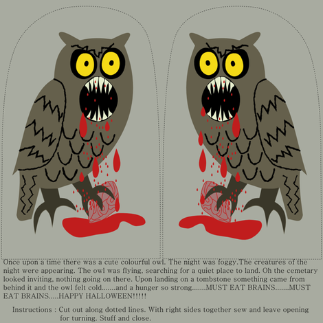 Owl Zombie fabric by loopy_canadian on Spoonflower - custom fabric