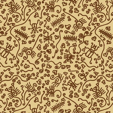 Scrollwork Creepy Crawlies Leather fabric by modgeek on Spoonflower - custom fabric