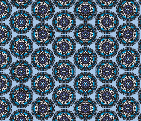 Blue_mandala fabric by melhales on Spoonflower - custom fabric