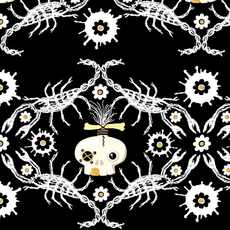 Zombie skull Brocade  fabric by paragonstudios on Spoonflower - custom fabric