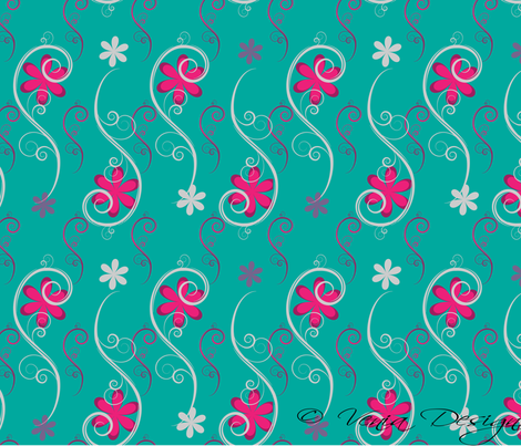 Turkoise_and_Pink_Swirls fabric by venia on Spoonflower - custom fabric
