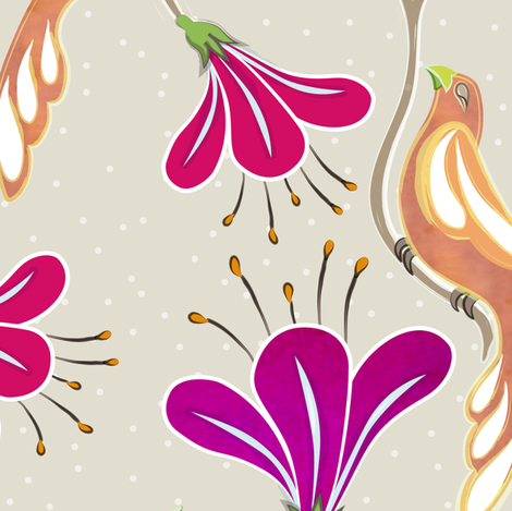 maharani's garden - fuchsia fabric by fox&lark on Spoonflower - custom fabric
