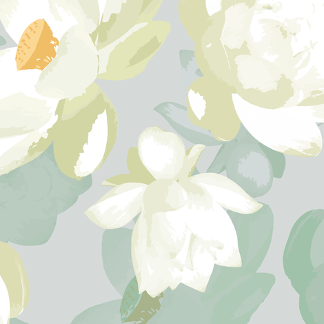 lotus blooms - dove fabric by fox&lark on Spoonflower - custom fabric