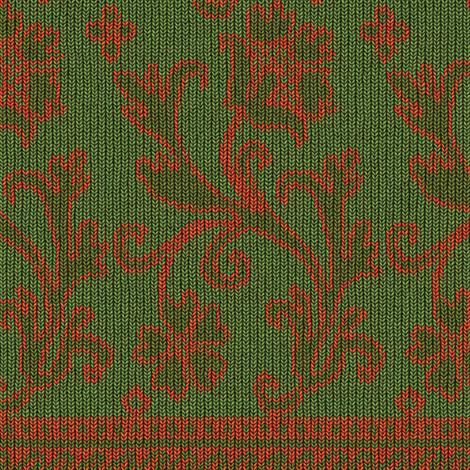 Elizabethan Knit, c. 1625-1650 - Green / Salmon fabric by bonnie_phantasm on Spoonflower - custom fabric