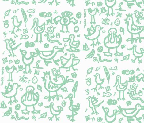 birdies teal fabric by galena22 on Spoonflower - custom fabric