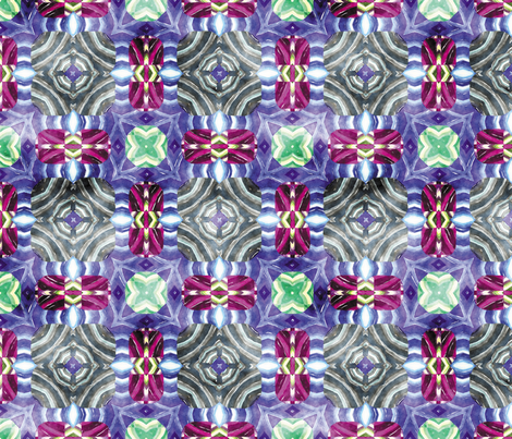 Flowery Incan Mosaics In Watercolor 11 fabric by animotaxis on Spoonflower - custom fabric