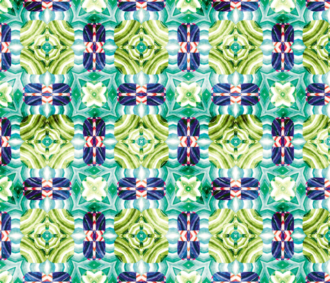 Flowery Incan Mosaics In Watercolors 12 fabric by animotaxis on Spoonflower - custom fabric