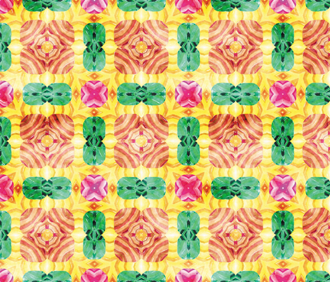 Flowery Incan Mosaics In Watercolors 13 fabric by animotaxis on Spoonflower - custom fabric