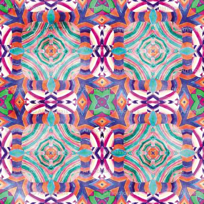 Flowery Incan Mosaics In Watercolors 15