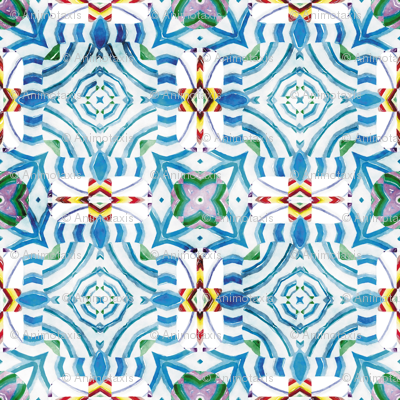 Flowery Incan Mosaics In Watercolors 17