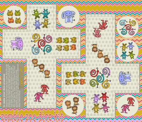 zombie zoo dice kit fabric by scrummy on Spoonflower - custom fabric