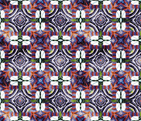Flowery Incan Mosaics In Watercolors 18 fabric by animotaxis on Spoonflower - custom fabric
