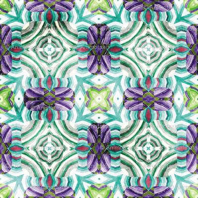 Flowery Incan Mosaics In Watercolors 19