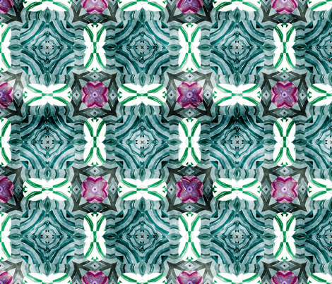 Flowery Incan Mosaics In Watercolors 20 fabric by animotaxis on Spoonflower - custom fabric