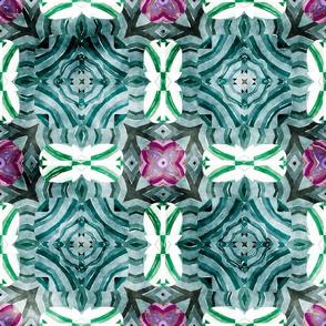 Flowery Incan Mosaics In Watercolors 20