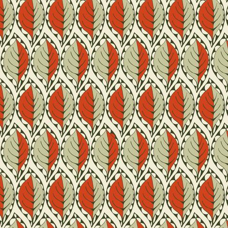 Beady Leaf (Nutmeg & Paprika) fabric by wednesdaysgirl on Spoonflower - custom fabric