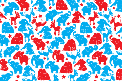 Elephant in the room and a donkey too fabric by ebygomm on Spoonflower - custom fabric