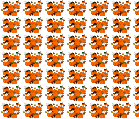 Babies In The Pumpkin Patch With Leaves and Pumpkins - Smaller Fabric fabric by lworiginals on Spoonflower - custom fabric