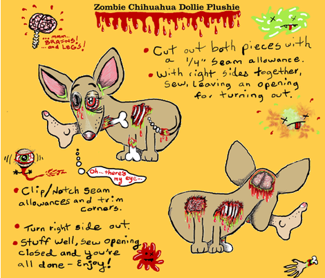 Zombie Chihuahua Dog Dollie Doll Plushie cut and sew fabric by amy_g on Spoonflower - custom fabric