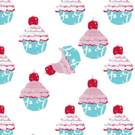Who at my cupcake fabric by karenharveycox on Spoonflower - custom fabric
