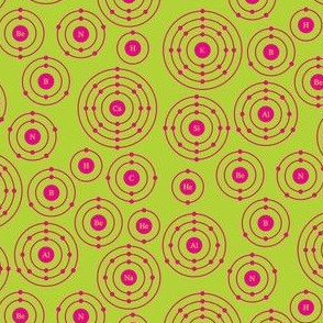 Periodic Shells (Lime Green and Hot Pink Ditsy)